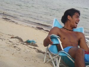Always happy in the sand and surf (Mauban beach circa 2003)