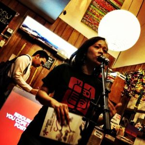 Padma Perez of Mt. Cloud Bookshop, opening the poetry slam