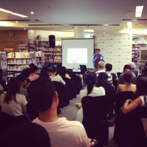 at the Hands On Manila talk on volunteerism in PowerBooks Greenbelt with The AIDS Society of the Philippines and Niccolo Cosme