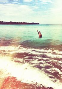 me, in a beach in Bataan (photo by Cez Golez)... that's what I need right now, full immersion into the water
