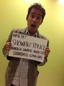 so they make their guests do fan signs for the show and, of course, I had to ham it up now, right?