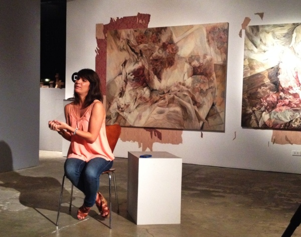 urban specialist Julia Nebrija talking about breaking up with a boyfriend through Skype and finding warmth everywhere in Manila (take notice of the beautiful Lyra Garcillano paintings in the back which served as a perfect backdrop for her story)