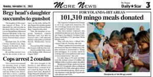 a news clipping from the Visayan Daily Star (a newspaper in the Visayas) showing how much meal packs they have distributed already