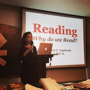 My Tita Beaulah Taguiwalo, an accomplished and award winning children's book illustrator and writer, also gave a talk on rediscovering the love of reading
