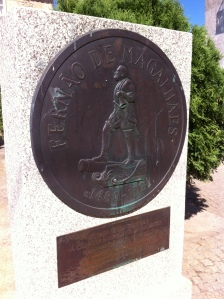 A seal, at the front of the house, to prove that Ferdinand Magellan (Fernao de Magalhaes) was born there