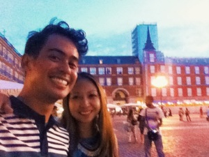 Tals and I at the Plaza Mayor in Madrid on my first night after my trip to Spain without any real preparation