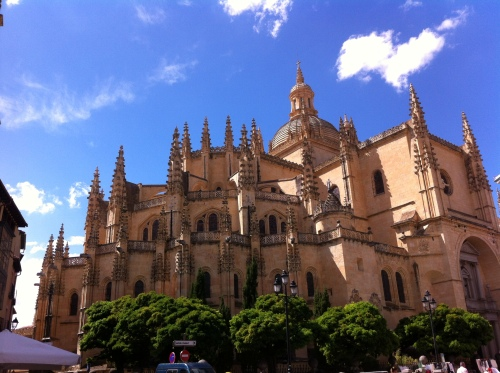 The Segovia Cathedral, an immense Gothic cathedral in the middle of the Plaza Mayor that is a presence that is felt so strongly throughout Segovia...