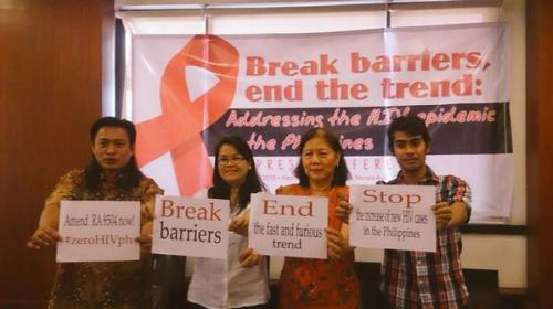 At yesterday's press conference with Ifugao District Representative Teddy Baguilat, Nenita Dalde of PLCPD, Bai Bagasao of UNAIDS on continuing to keep the discussion on HIV and rising number of cases in the press to raise awareness and push for stronger reforms and behaviour change
