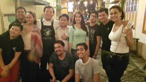 With the Philippine delegation at Drunken Monkey having a photo with the waiters who recognise Allen Dizon and Cherie Gil (photo by Pilar Mateo)