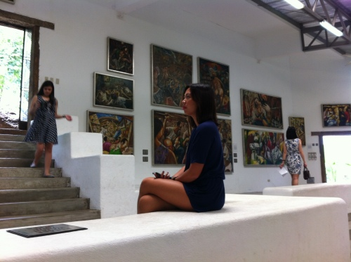 Cez looking at the paintings of Garibay in Gallery 1 at the Pinto Art Gallery