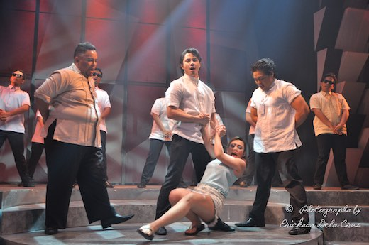 JC Santos and Kim Molina in probably my favourite song from Kung Paano Ako Naging Leading Lady with Red Nuestro and Red Concepcion; this scene happens early in the play and from this point on, they just stole the whole show (photo by Erickson Navarro)
