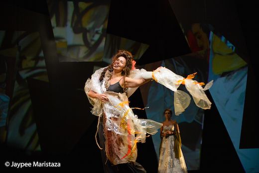Iza Calzado as the woman in BenCab's paintings called Sabel, she is mesmerising as both narrator and player and is a commanding presence on stage