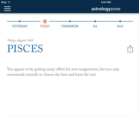 From the Astrologyzone app of Susan Miller