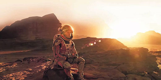 Matt Damon, reminding us all that he is a damn good actor (despite his personal, off-screen beliefs that paints him as a less than ideal human being), in a scene in Ridley Scott's The Martian